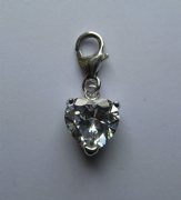Sterling silver clip on cubic zirconia heart charm